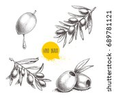 sketch hand drawn olives set.... | Shutterstock .eps vector #689781121