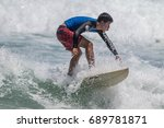 july 29  unidentified surfer in ...   Shutterstock . vector #689781871