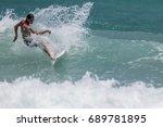 july 29  unidentified surfer in ...   Shutterstock . vector #689781895