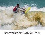 july 29  unidentified surfer in ... | Shutterstock . vector #689781901