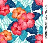 summer hawaiian seamless... | Shutterstock .eps vector #689789671
