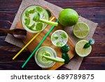 healthy lemonade   | Shutterstock . vector #689789875
