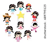 variation of cute little girls... | Shutterstock .eps vector #689795125