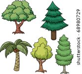 a set of five cartoon trees....