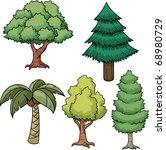 A Set Of Five Cartoon Trees....