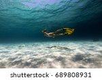 woman freediver explores... | Shutterstock . vector #689808931