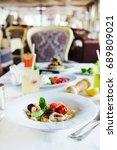 seafood pasta | Shutterstock . vector #689809021
