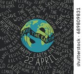 earth day poster. hands shaped... | Shutterstock . vector #689809831