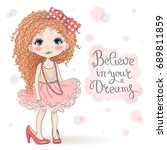 hand drawn beautiful  cute ... | Shutterstock .eps vector #689811859