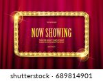 bright red marquee with light... | Shutterstock .eps vector #689814901