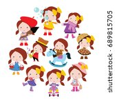 variations action of funny... | Shutterstock .eps vector #689815705