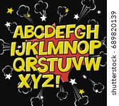 comic alphabet and speech... | Shutterstock . vector #689820139