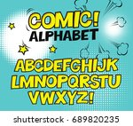 comic retro yellow alphabet.