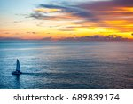 sunset at the sea with  | Shutterstock . vector #689839174