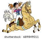 cartoon little girl riding a... | Shutterstock .eps vector #689849011