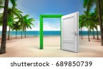 open door frame on the sandy...   Shutterstock . vector #689850739