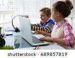 kids as business executive... | Shutterstock . vector #689857819