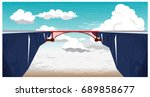 panoramic mountain landscape... | Shutterstock .eps vector #689858677
