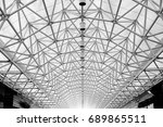 arched roof steel structure... | Shutterstock . vector #689865511