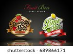 fruit beer label design  two... | Shutterstock .eps vector #689866171