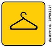 cloak room sign yellow. vector. | Shutterstock .eps vector #689868319