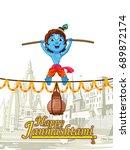 lord krishna indian god... | Shutterstock .eps vector #689872174