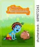 lord krishna indian god... | Shutterstock .eps vector #689872261