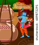 lord krishna indian god... | Shutterstock .eps vector #689872291
