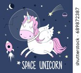 space sweet unicorn... | Shutterstock .eps vector #689872387