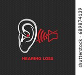 hearing loss illustration logo... | Shutterstock .eps vector #689874139
