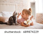 pets  morning  comfort  rest... | Shutterstock . vector #689874229