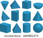 basic 3d geometric shapes. cube ... | Shutterstock .eps vector #689881471
