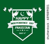 celebrating pakistan... | Shutterstock .eps vector #689889001