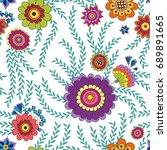 floral vector seamless pattern. ... | Shutterstock .eps vector #689891665