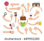 hands in different poses. big... | Shutterstock .eps vector #689902285
