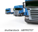 Some Blue Trucks Isolated On...