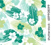 tropical seamless pattern with... | Shutterstock .eps vector #689908099