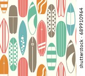 sea surfing pattern with... | Shutterstock . vector #689910964