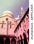 Small photo of Basilica of Saint Anthony. Religious architecture in Padua, Italy. Retro colors filtered style.