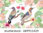 oriental kimono pattern.... | Shutterstock .eps vector #689911429