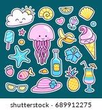 set of cute summer stickers ... | Shutterstock .eps vector #689912275
