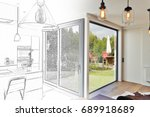 mixed sketch of renovation on a ... | Shutterstock . vector #689918689