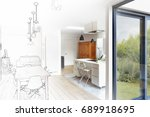 mixed sketch of a modern luxury ... | Shutterstock . vector #689918695