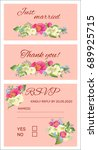 set of wedding cards with... | Shutterstock .eps vector #689925715