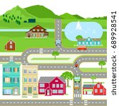 scene with houses and road... | Shutterstock . vector #689928541