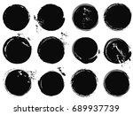 black grunge circle splashes | Shutterstock .eps vector #689937739