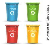 multicolored recycling bins... | Shutterstock .eps vector #689942011