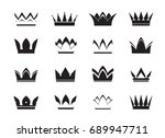 set of black vector crowns and... | Shutterstock .eps vector #689947711