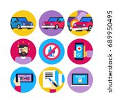 car accident flat icons. vector ... | Shutterstock .eps vector #689950495