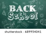 school stationary icons and... | Shutterstock . vector #689954041